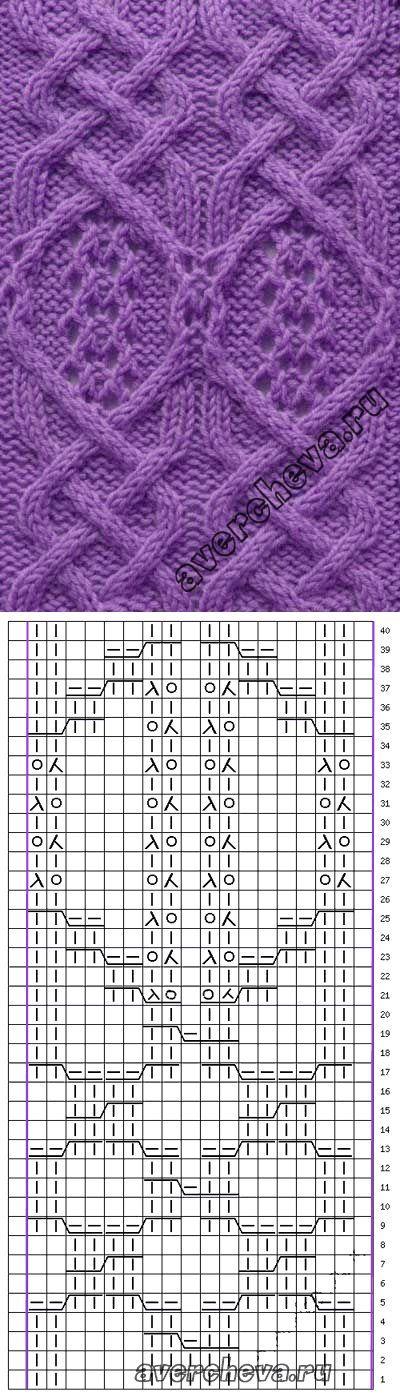 Узор 772 коса с ажурным рисунком | каталог вязаных спицами узоров