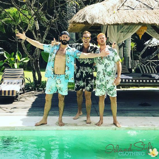 Great photo from Bali Villa Kalis, lads going to #sunnysideupfest at Potato Head Resort. Wearing our cotton Cabanas - Hawaiian Shirts & Exact Matching Shorts. For a fancy dress party, luau, cruise, bachelor party or halloween costume.