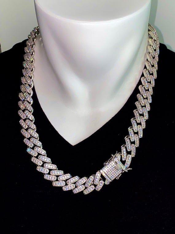 Men S 18mm Miami Cuban Link 24 Chain Necklace14k Etsy Cuban Link Chain Necklaces Bling Necklace Chain Link Necklace