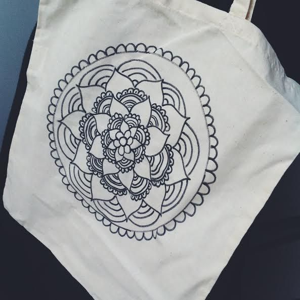 Handmade design mandala totebags made by me
