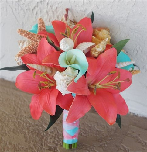 Natural Touch Coral and Tiffany Turquoise Lilies and Callas Bouquet