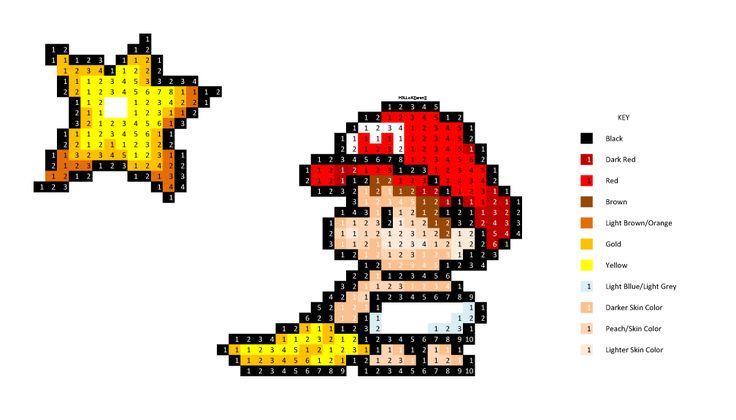 Super Baby Mario cross stitch pattern