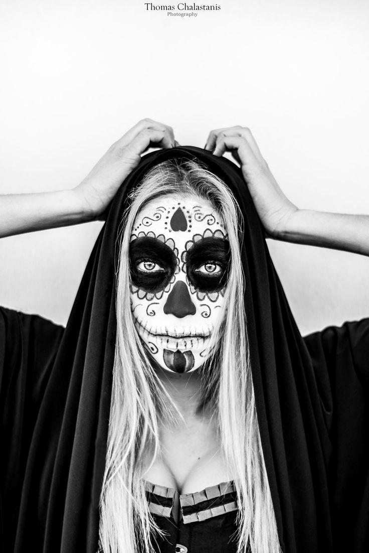 Greek halloween mood - omerta! Skull face, make up artist Konstantina Tsiaka -  Photographer Thomas Chalastanis.