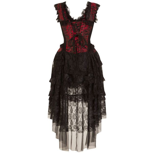 Ophelie Red King Brocade Corset Dress by Burleska ($110) ❤ liked on Polyvore featuring dresses, red corset, red dresses, brocade dress, brocade corset and red corset dress