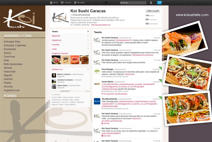 Cliente: Koi Sushi / Diseño Twitter / Propiedad Idea Digital / 2012 / #social #socialmedia2.0 #twitter #design #graphicdesign  #creative #art #business #marketing #ideadigital
