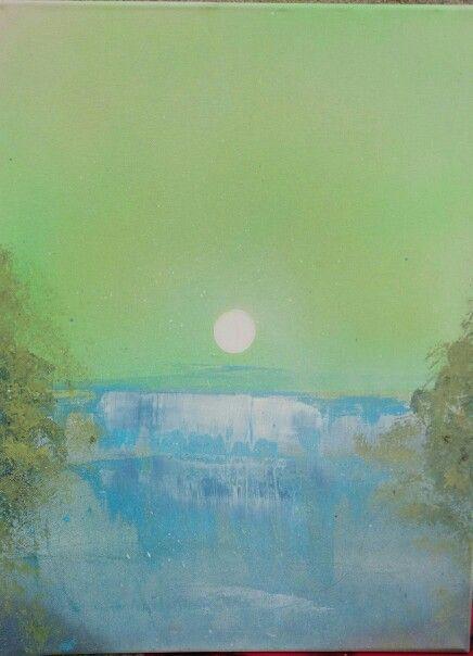 Cascada,pintura a spray sobre lienzo