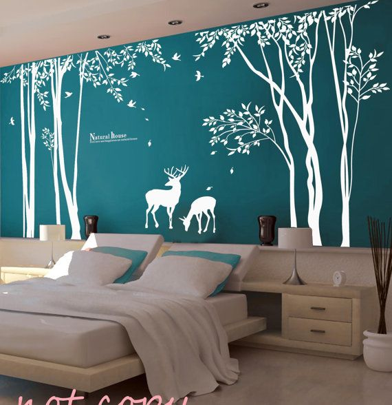 I want a stencil like this but with a baby deer in it too!  Vinyl Tree Wall Decal  Wall sticker kids decal  deer decal forest decal room decor graphic mural wall decor wall art-deer in Forest on Etsy, $120.00