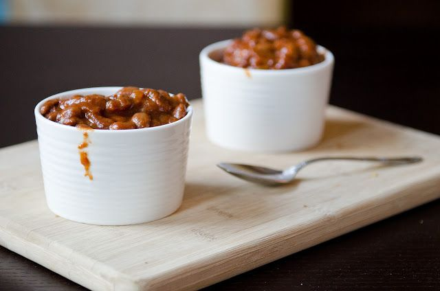 Canadian Maple Baked Beans - a delicious side dish perfect for winter with fresh apples and warm spices.