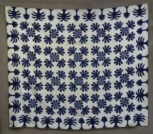 Dated 1842;  Blue and white quilt for Hanukkah. Found at an auction at Veeders Tavern in Amsterdam, NY.