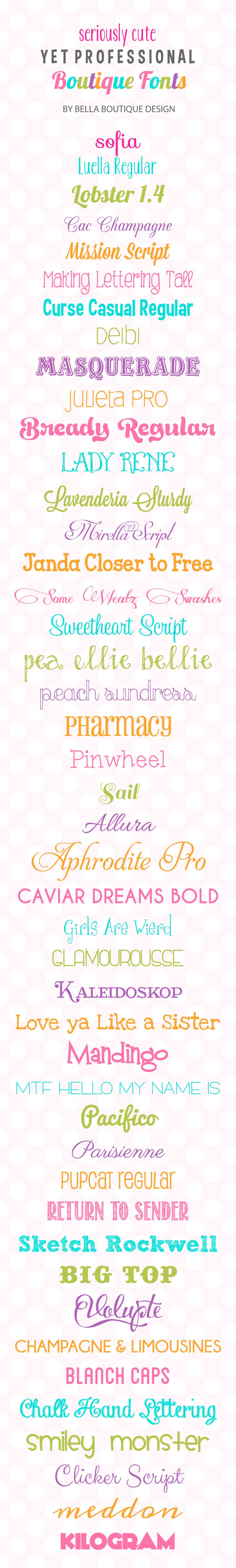 Favorite fonts from Bella Boutique Design (Dead End Link, but can Google font names)