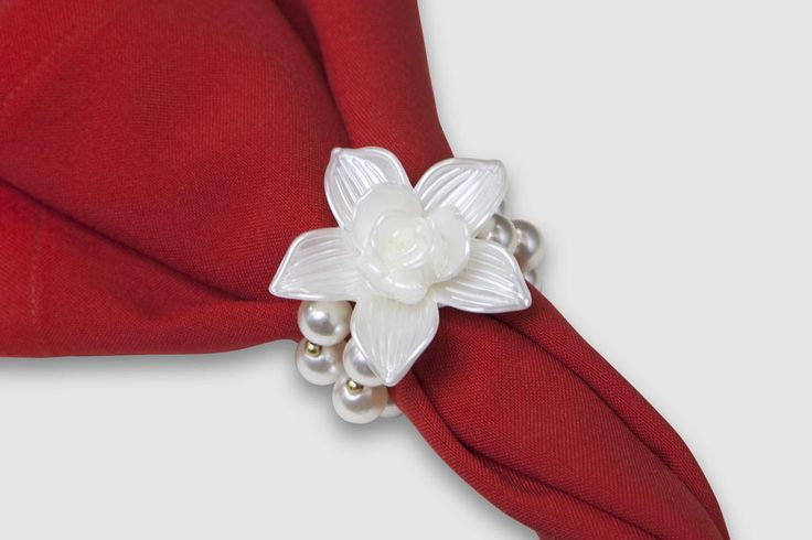 Porta guardanapo - AN013 - Flor de madrepérola e pérolas duplas