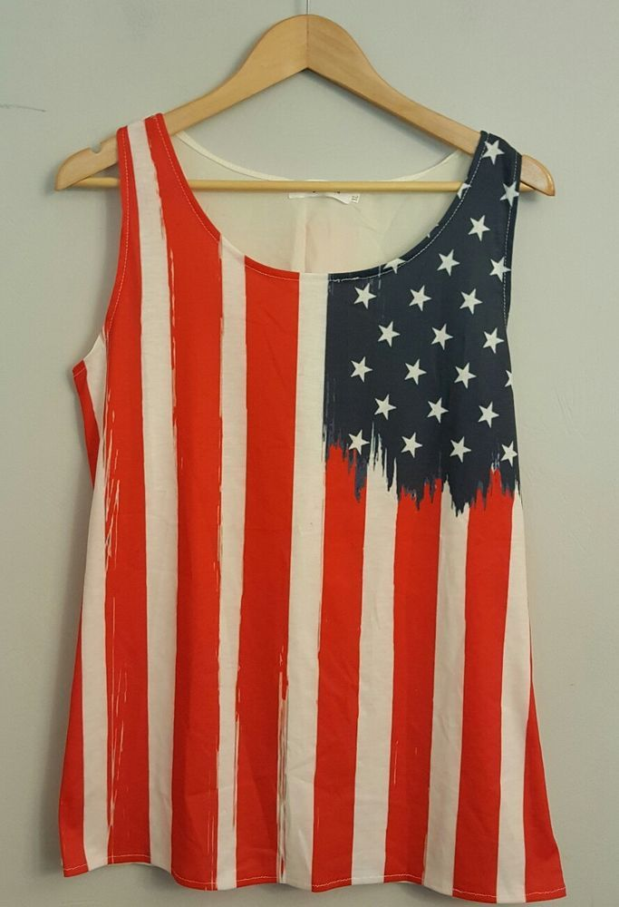 Women's Tianguo Fushi Semi-Sheer Back American Flag Knit Tank Top Sz XL NWT! | Clothing, Shoes & Accessories, Women's Clothing, Tops & Blouses | eBay!