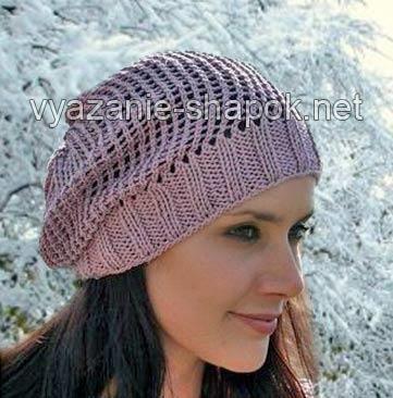 Осенняя детская вязаная спицами шапка