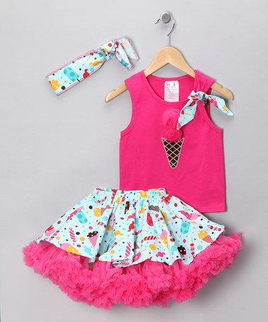 Take a look at this Fuchsia & Aqua Ice Cream Tutu Set - Toddler & Girls by Yuli n' Grace Couture on #zulily today!