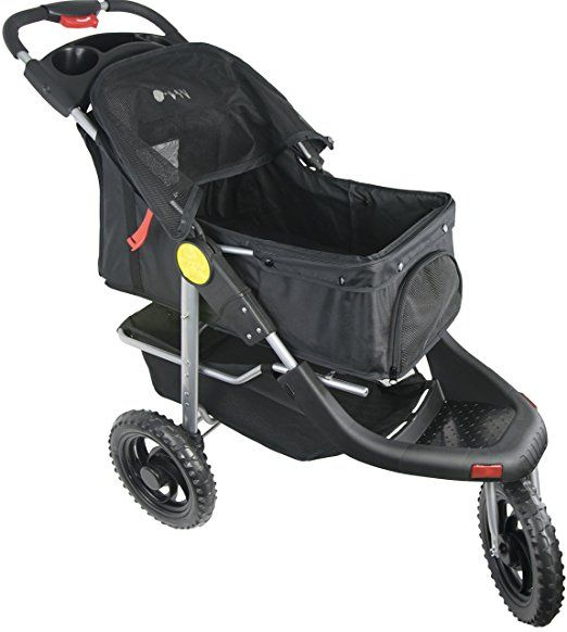 Amazon.com : VIVO Three Wheel Jogging Pet Stroller, for Cat, Dog and More, Foldable Jogger Carrier Strolling Cart, Multiple Colors (Black) : Pet Supplies