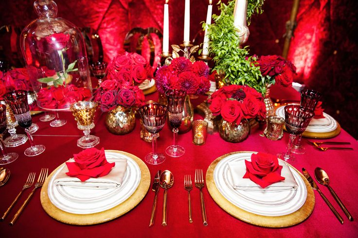 Dramatic red shoot inspired by disney 39 s beauty and the for Beauty and beast table decorations