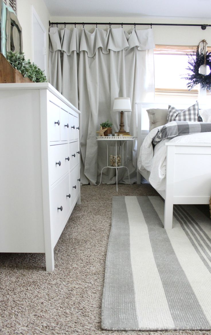 White curtains bedroom - Master Bedroom Rug Makeover