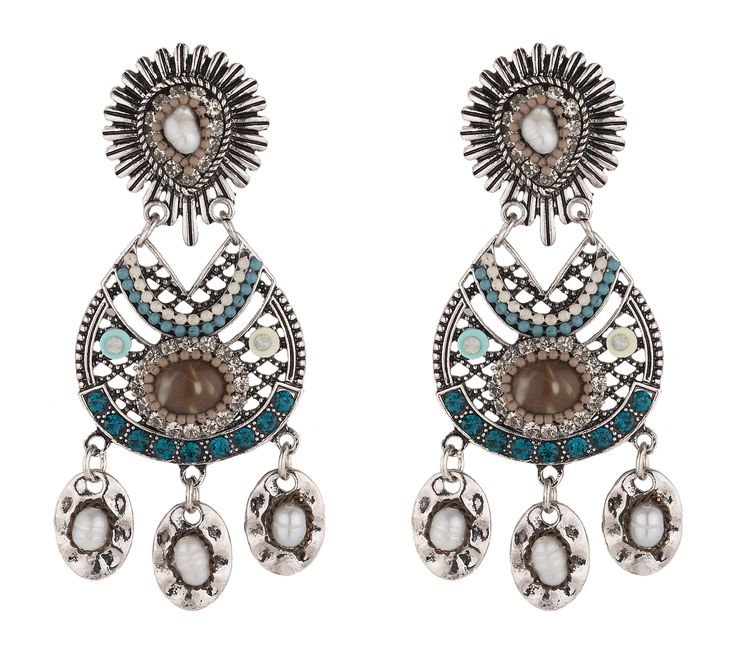 Earrings with ethnic details and strass #accessories #bijoux #earrings #ethnic