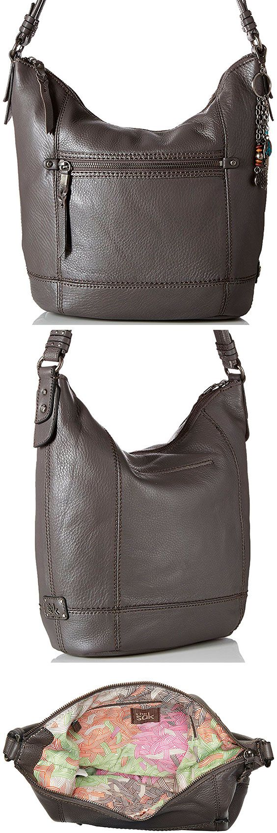 The Sak Sequoia Hobo Bag – Best Large Leather Hobo Shoulder Bag The Sequoia lives up to its namesake and comes in at a relatively large, inexpensive shoulder bag. With 11 styles to choose from, the right person will love the oversized design. #TheSAK #Leather #Baguette #Handbag #Hobo #ShoulderBag #Bag #Gray