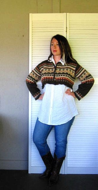 L XL upcycled clothing cropped sweater by lillienoradrygoods, $44.50