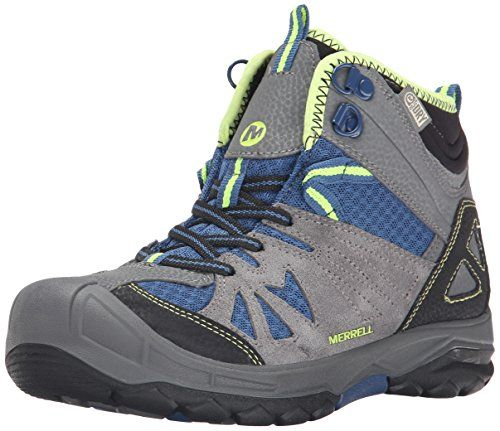 Merrell Capra Mid Waterproof Hiking Boot (Toddler/Little Kid/Big Kid), Grey/Blue, 2 M US Little Kid