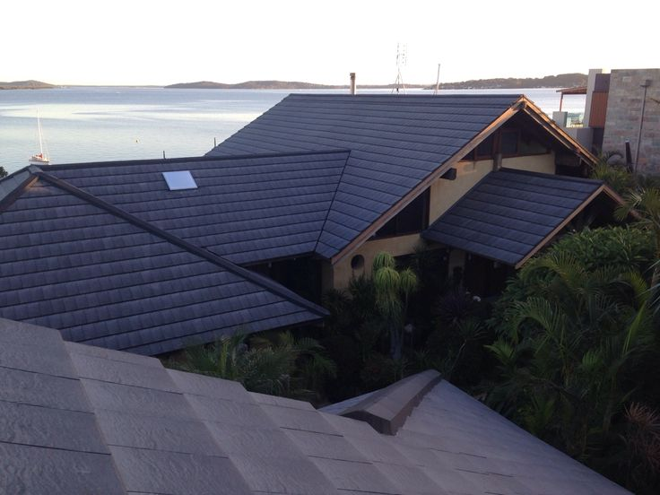 Overview of entire house with LOHAS Slate roof tiles. Belmont NSW Australia