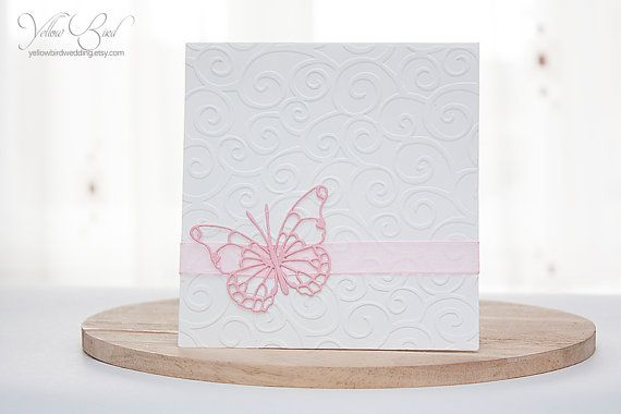 Simple pink butterfly wedding invitation card . Embossed invitation. Elegant wedding. Christening invitation