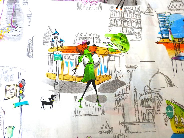 Life in the City. Beautiful design fabrics from www.textilebird.co.uk