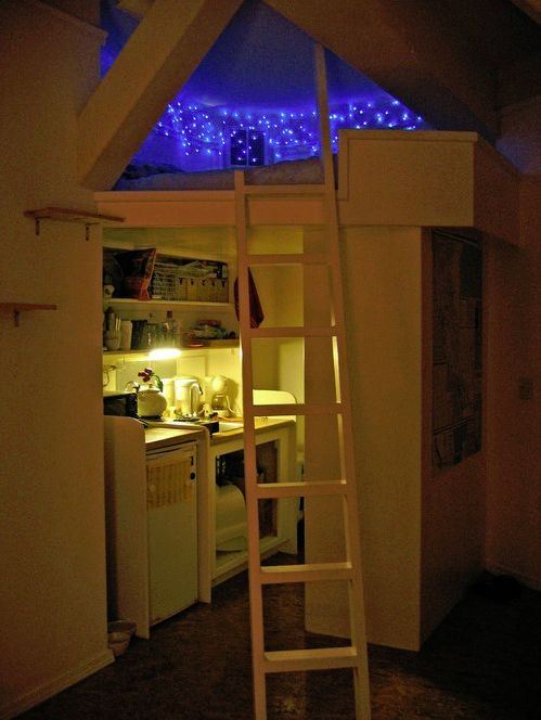 You're never too old for a starlit loft. I love this! I want a loft bed so bad and idk why they are just so cool
