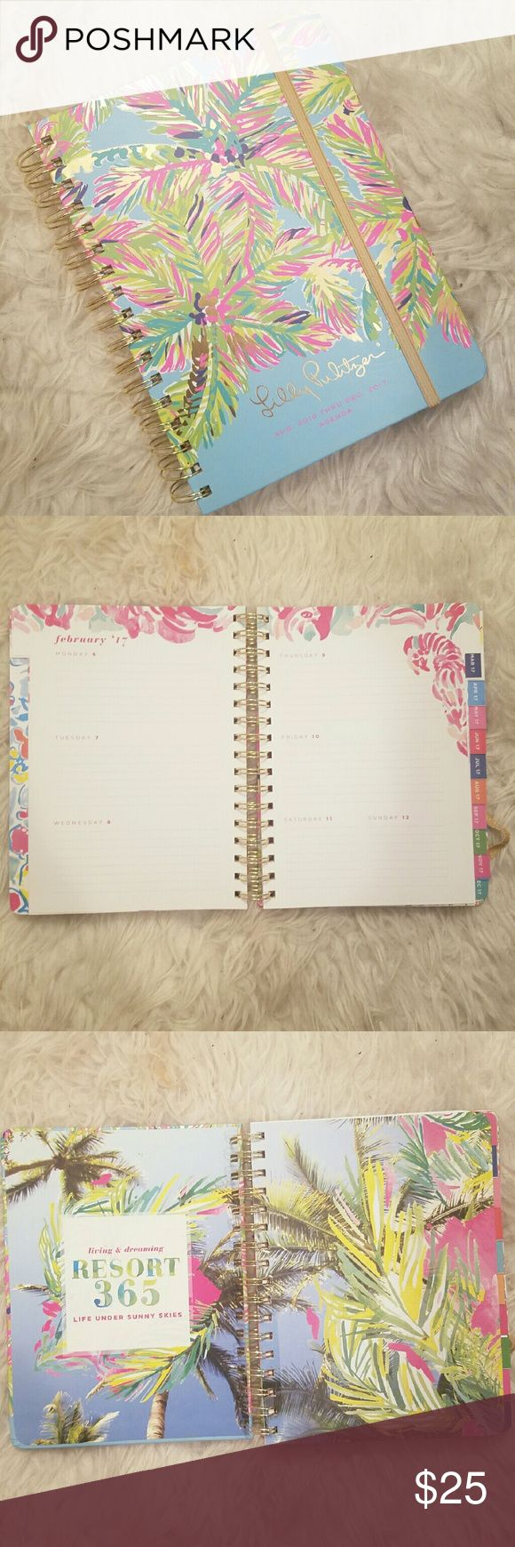 """Lilly Pulitzer 17-Month Large Agenda Brand new, never used Lily Pulitzer 17-Month Large Agenda featured in the """"In the Bungalow"""" design August 2016 through December 2017  Stay organized and chic with a colorful spiral-bound agenda that features yearly, monthly, and weekly calender overviews and day by day space for jotting detailed notes, a coordinating sticker sheet, and extra blank spaces. 6 3/4"""" x 9""""  A matching key ring is available to bundle Lilly Pulitzer Other"""