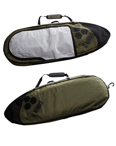 SURFSTITCH - SURF - BOARD COVERS - SHORTBOARDS - CHANNEL ISLANDS APPROACH 2X TRAVEL BAG - GREEN BLACK GREY
