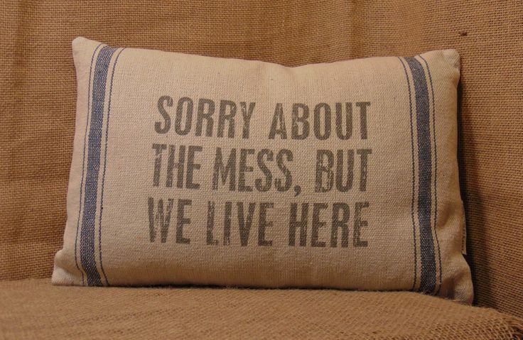Sorry About the Mess, but We Live Here pillow would certainly be appropriate in my living room! How about yours? Available online and in our shop. #family #children