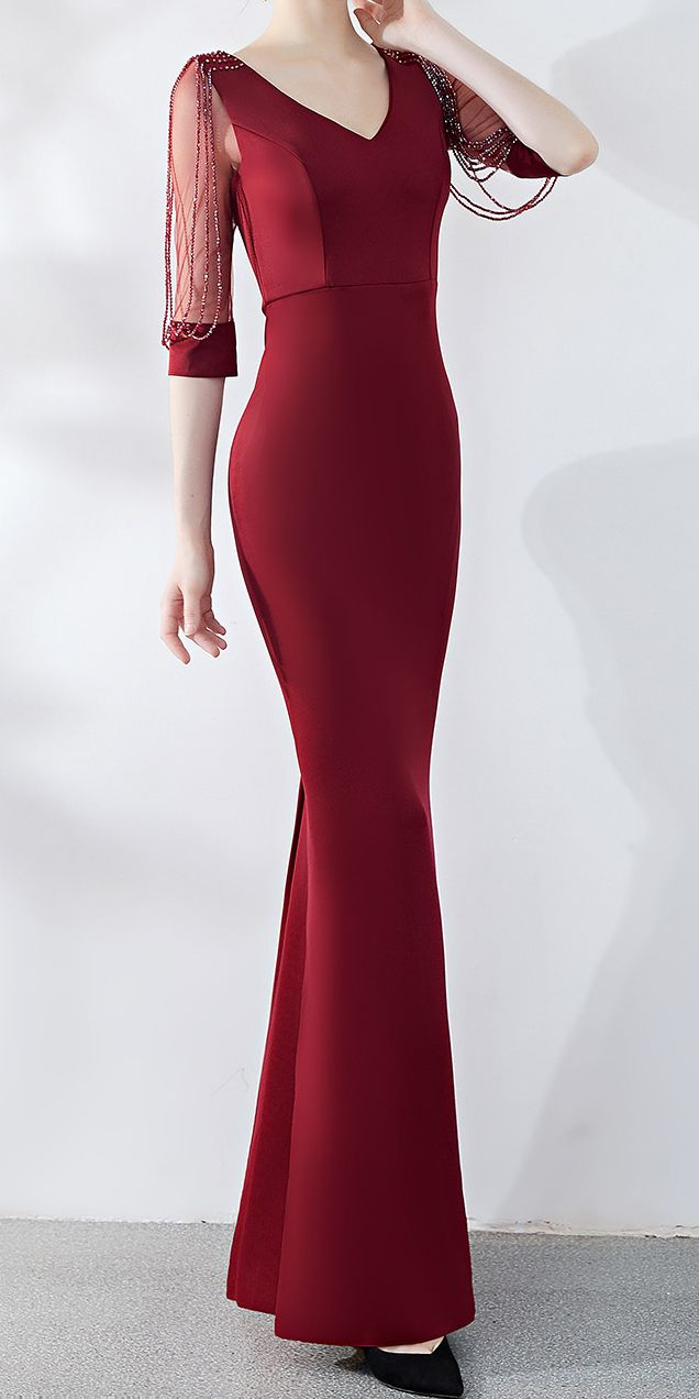 Dark Red Long Tight Maxi Evening Dress Stunning Maxi Dress Evening Evening Dresses Elegant Classy Elegant Dresses For Women [ 1272 x 636 Pixel ]
