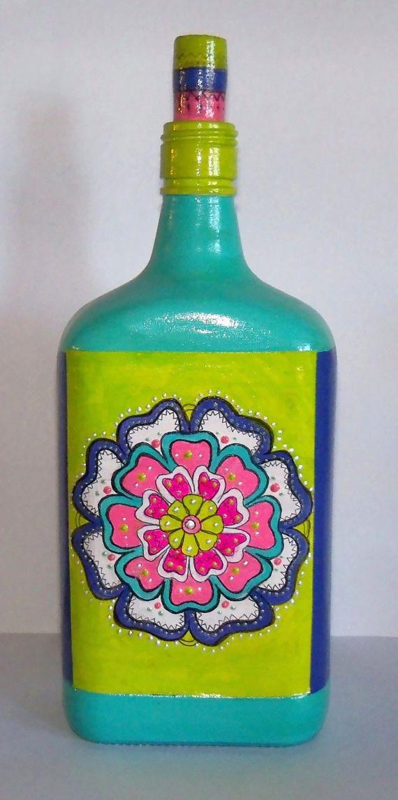 botella pintada a mano - Adornos - Casa - 497119