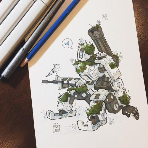 Inktoberwatch Day 9, a very cute robot and his birb friend