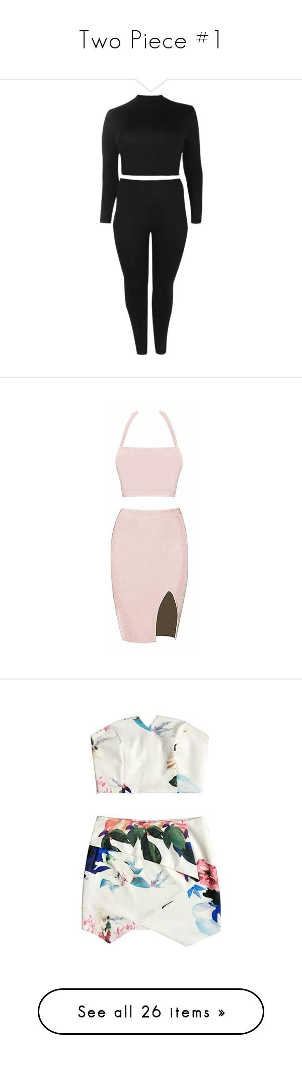 """""""Two Piece #1"""" by andriana-aaa ❤ liked on Polyvore featuring intimates, sleepwear, pajamas, dresses, outfits, vestidos, halter crop top, pink bandage dress, halter dress and two piece bandage dress"""