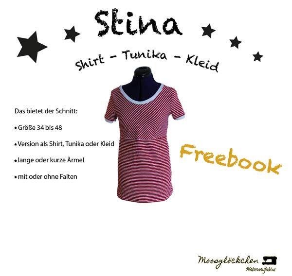 Freebook Stina: Shirt, Tunika, Kleid