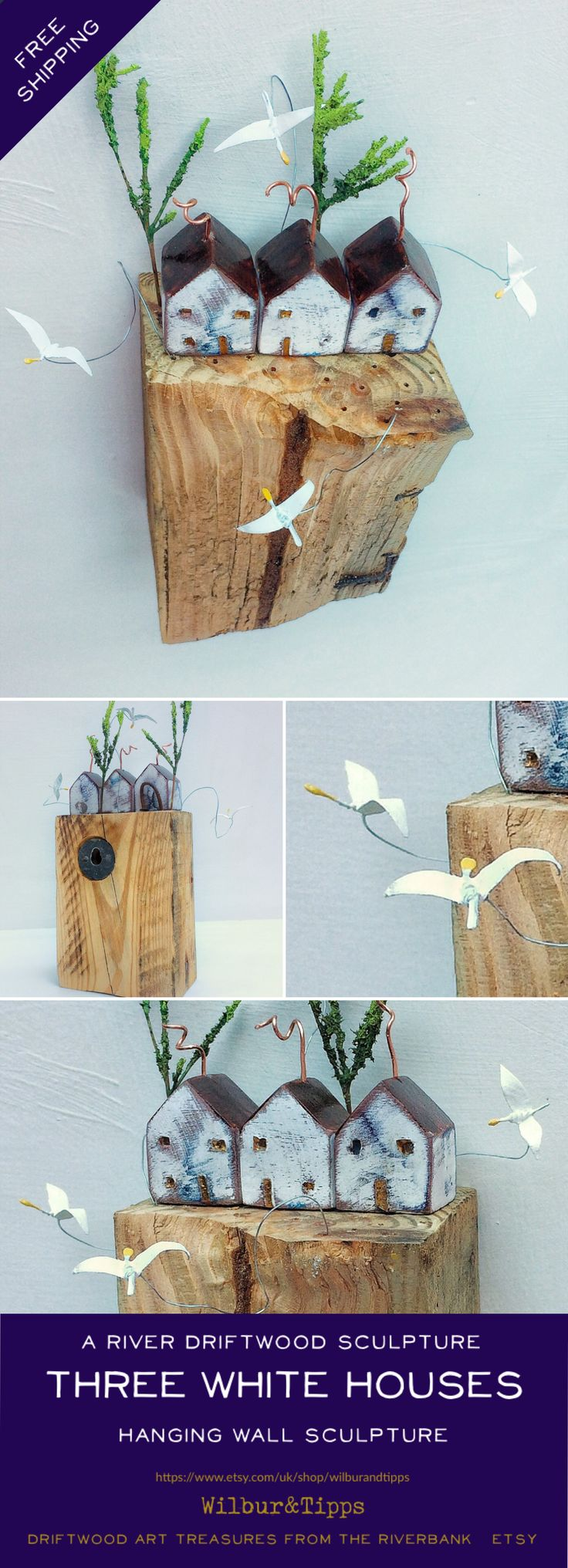 £14.99 / €16.96  FREE DELIVERY Europe and UK Wall hanging driftwood sculpture. Individual sculptured pieces that you can reposition handmade, driftwood art, küsten kunst, driftwood house, driftwood sculpture, kustlijn kunst, etsy gifts, etsy, gift ideas, etsy de, Wilbur&Tipps @ Etsy