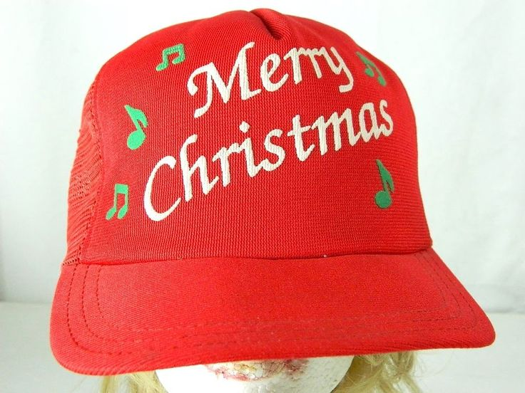 Vintage Merry Christmas Snapback Red Mesh Trucker Hat Plays Music Made in USA #Casual