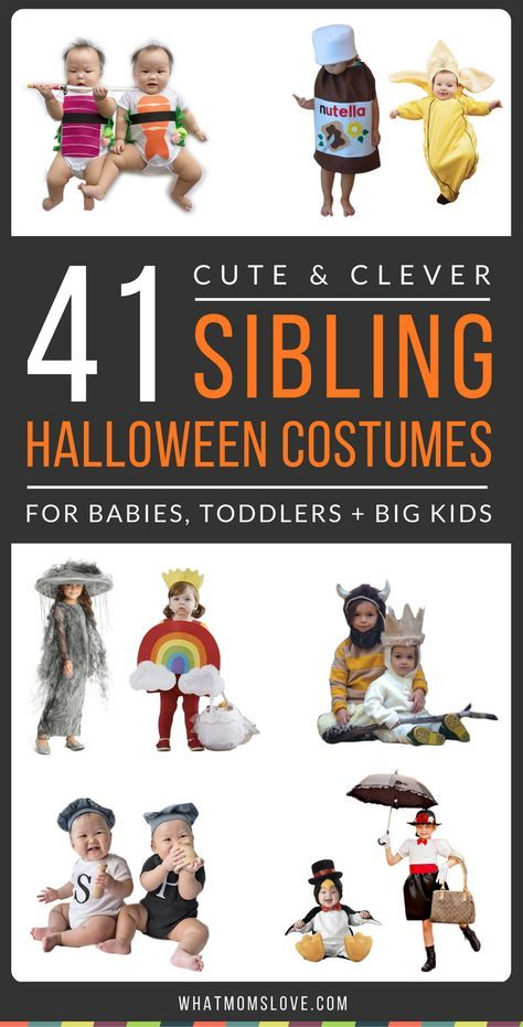 Sibling Halloween Costume Ideas. Tons of creative and unique ideas for a coordinating theme - great for twins, babies, toddlers, and even teens! Grab your boys, girls, sisters and brothers to create an epic group Halloween costume! (and bonus - if you can't DIY, these costumes can all be purchased with a simple click!)