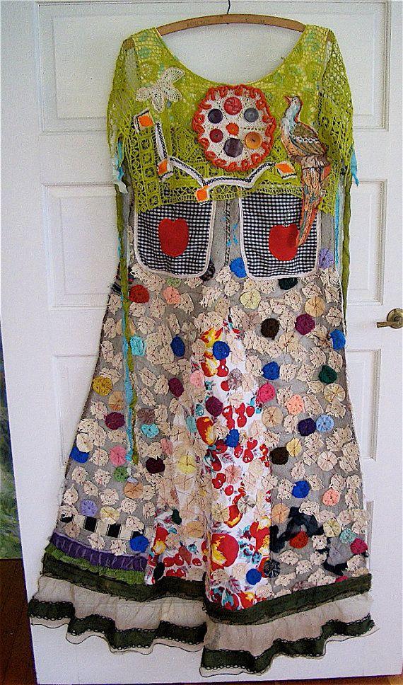 Antique Yo Yo Vintage Tablecloth Upcycled Wearable Art COLLAGE  Duster Maxi APRON Dress  mybonny my bonny