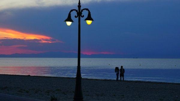 Late evening at Perea beach, Thessaloniki, Macedonia Greece