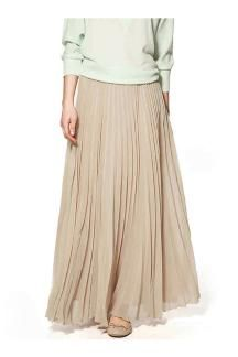Beige Chiffon Pleated Maxi Skirt - £16.19