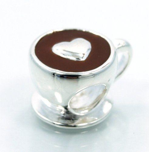 Coffee w/ LOVE Sterling Silver Bead Charm w/ Enamel, fits Pandora, Troll, Chamilia, Pugster European Bracelets on Etsy, $25.00