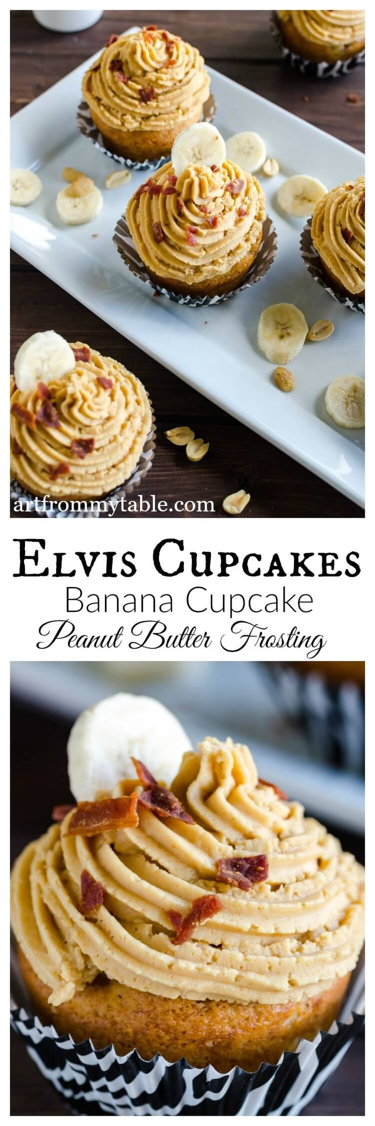 You can't help falling in love with these Elvis Cupcakes. Banana cupcakes topped with peanut butter frosting and bits of real bacon.