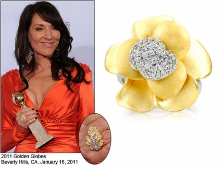 Katey Sagal winning for her role as Gemma Teller on SOA. We love her stylish ring.