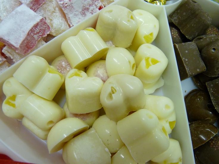 some of my hand made chocolates 'lemon and white chocolate hearts'