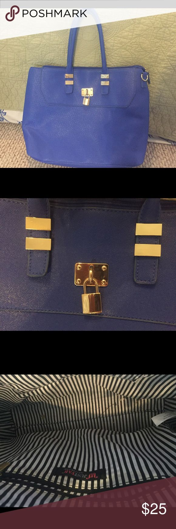 JustFab bright blue tote bag Barely used, beautiful bright blue bag from JustFab JustFab Bags Totes