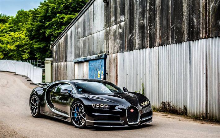 Télécharger fonds d'écran Bugatti Chiron, 2017 voitures, supercars, noir Chiron, hypercars, route, Bugatti
