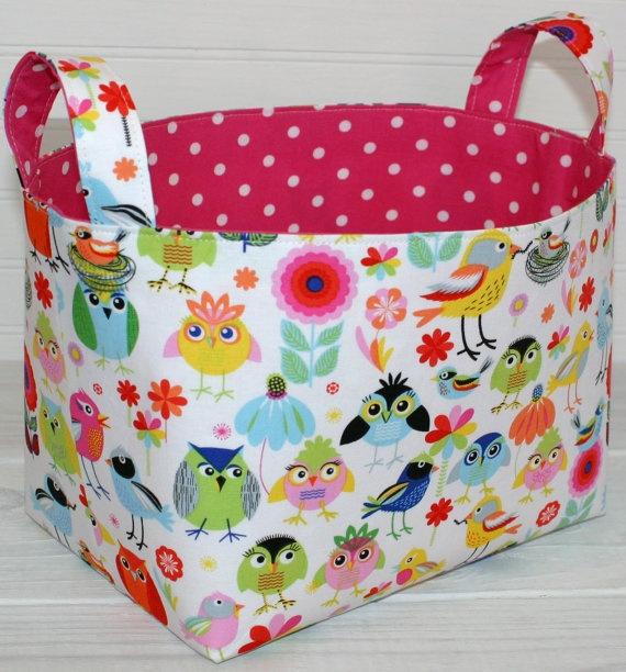 Organizer Basket Fabric Bin - Owls and Birds | Fabric